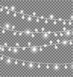 Garlands with round bulbs on dark background vector