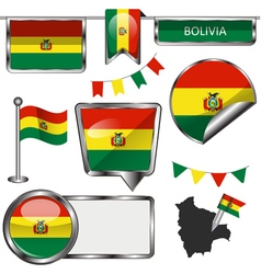 Glossy icons with bolivian flag vector