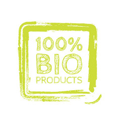 grunge bio 100 percent natural rubber stamp vector image vector image