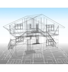 House technical draw vector image vector image