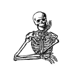 human skeleton keeping hand on chin vector image