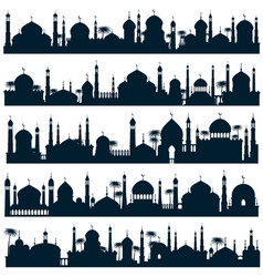 islamic city skylines with mosque and minaret vector image vector image
