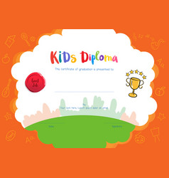 Kids diploma or certificate template with hand vector