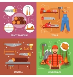 Lumberjack and tools for working wood vector