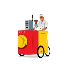 Mobile coffee shop cartoon vector