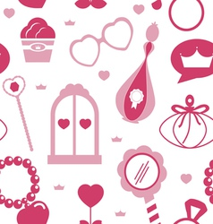 Princess acssessories seamless pattern vector image