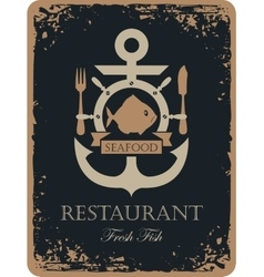Ship anchor and seafood vector