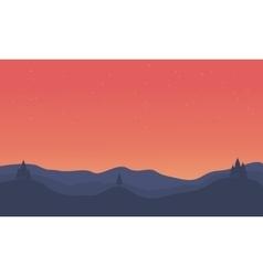 Silhouette of hill orange sky landscape vector