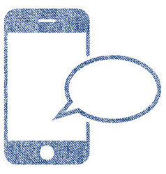 smartphone message balloon fabric textured icon vector image