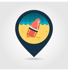 Torpedo lifeguard buoy pin map icon Summer vector image vector image