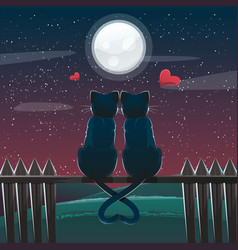 valentine day card with couple of black cats vector image