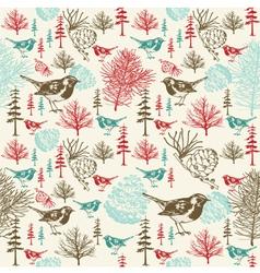Vintage Birds Forest Pattern vector image vector image