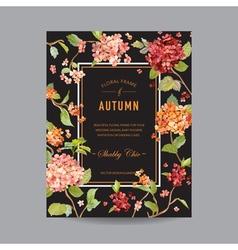 Vintage floral frame - autumn hortensia flowers vector
