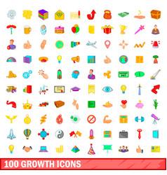 100 growth icons set cartoon style vector