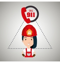 Woman firefighter mask helmet vector
