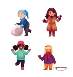 Set of kids enjoying winter season vector