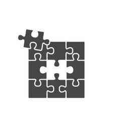 Black puzzles icon vector