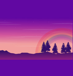 silhouette of hill with tree and rainbow vector image