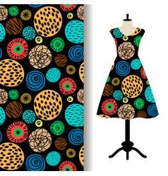 Womens dress fabric pattern with dots vector