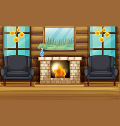 Room with black armchairs and fireplace vector