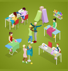 Isometric dressmaker salon atelier with tailor vector