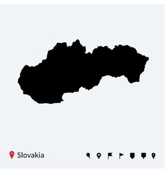 High detailed map of slovakia with navigation pins vector