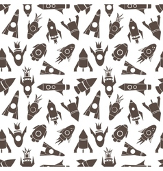 Cartoon rockets seamless pattern vector