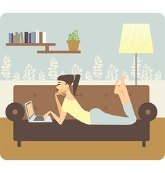 Woman working at home vector