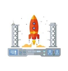 Rocket Startup Flat Desing Concept vector image