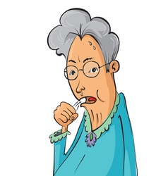Elderly woman coughing vector