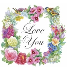 Greeting card with flowers watercolor can be vector