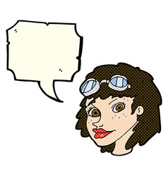 Cartoon happy woman wearing aviator goggles with vector