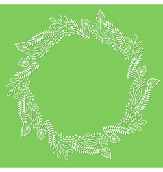 Round floral frame on green background vector