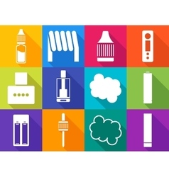 Vaping icons with long shadows vector