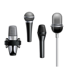 Microphone collection in realistic style vector