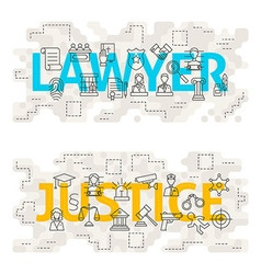 Lawyer justice line art concept vector