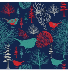 Vintage floral birds pattern vector