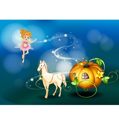 A pumpkin a horse and a fairy vector