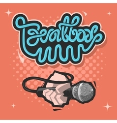 Beatbox Lettering A Hand With A Mic Microphone vector image