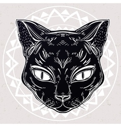 Black cat head portrait vector