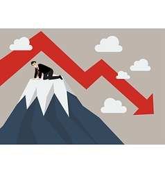 Businessman stuck on a top hill vector