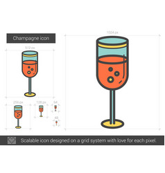 Champagne line icon vector