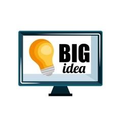 Computer display with big idea message vector