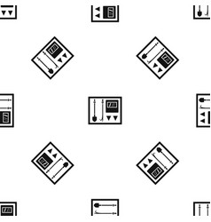 Fire shield pattern seamless black vector