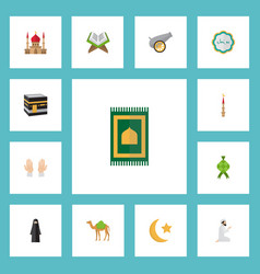Flat icons prayer carpet new lunar mecca and vector