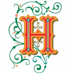 floral letter h vector image vector image
