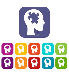 head with puzzle icons set flat vector image