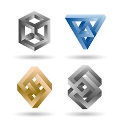 Impossible 3d shape set vector