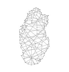 Map of qatar from polygonal black lines and dots vector