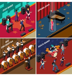 Musicians people isometric 2x2 icons set vector